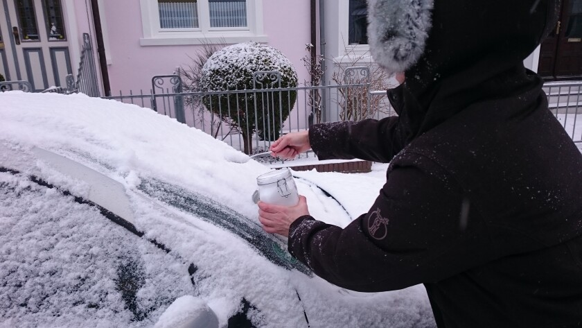 Collecting snow sample