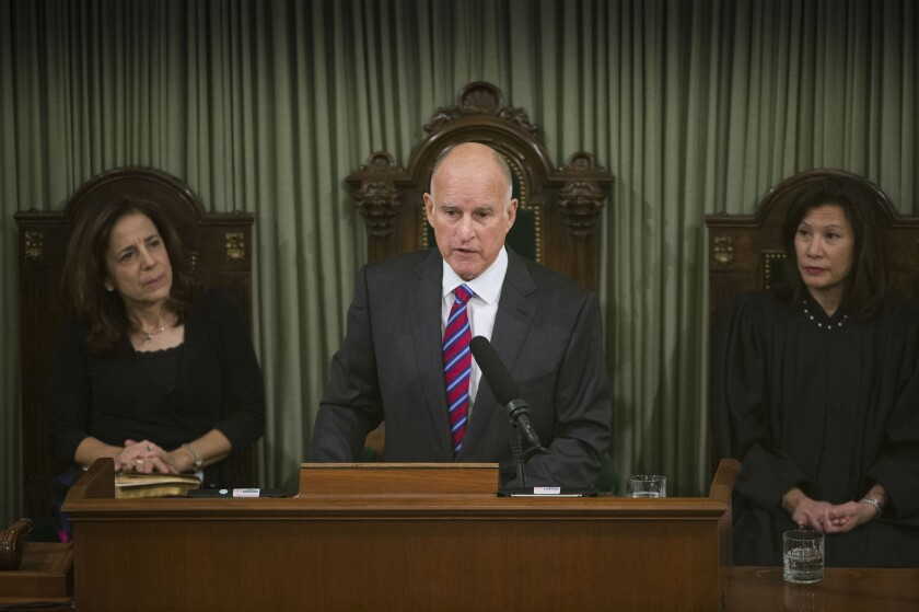 Gov. Brown outlined his goals for attacking climate change in his inaugural speech Monday.