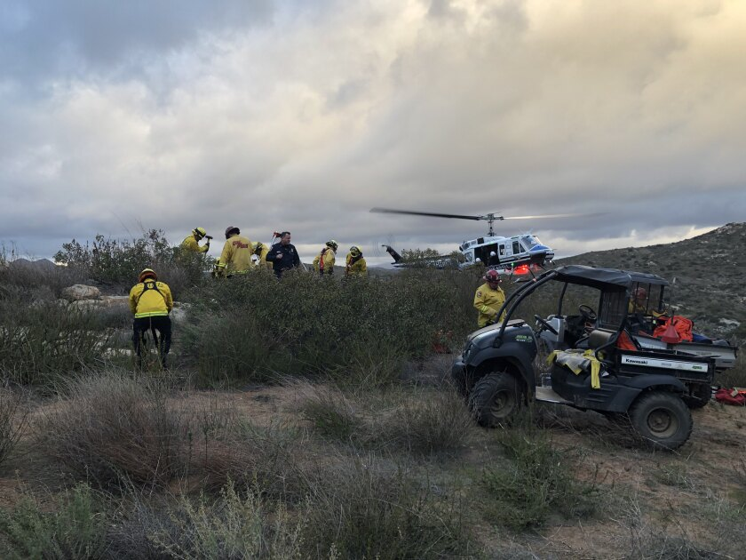 Cal Fire crews and a rescue helicopter were unable to save a climber injured on a San Pasqual Valley cliff in San Diego on Thursday.