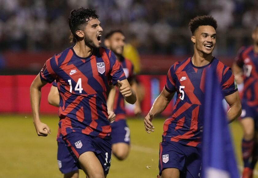 United States' Ricardo Pepi celebrates scoring his team's second goal against Honduras.