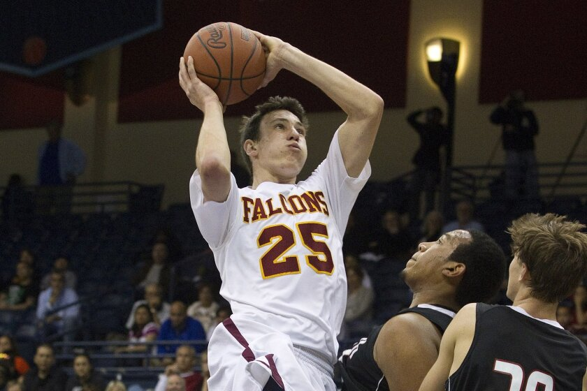 Torrey Pines' Sam Worman (shown in a photo from last season) led the Falcons with 18 points Saturday night against Morse.