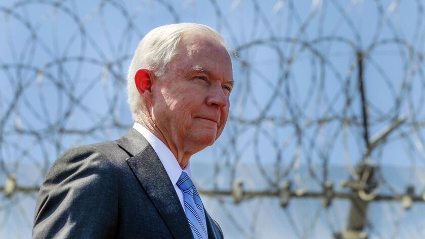 Atty. Gen. Jeff Sessions at a news conference near the U.S.-Mexico border in San Diego on April 21, 2017.