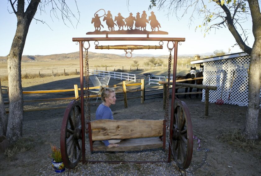 Nicola Bridges on the 10-acre Ramona property that she and her husband, Tony, are transforming into Capability Ranch, a learning and activity center for children and young adults with special needs.  Photo by Don Boomer
