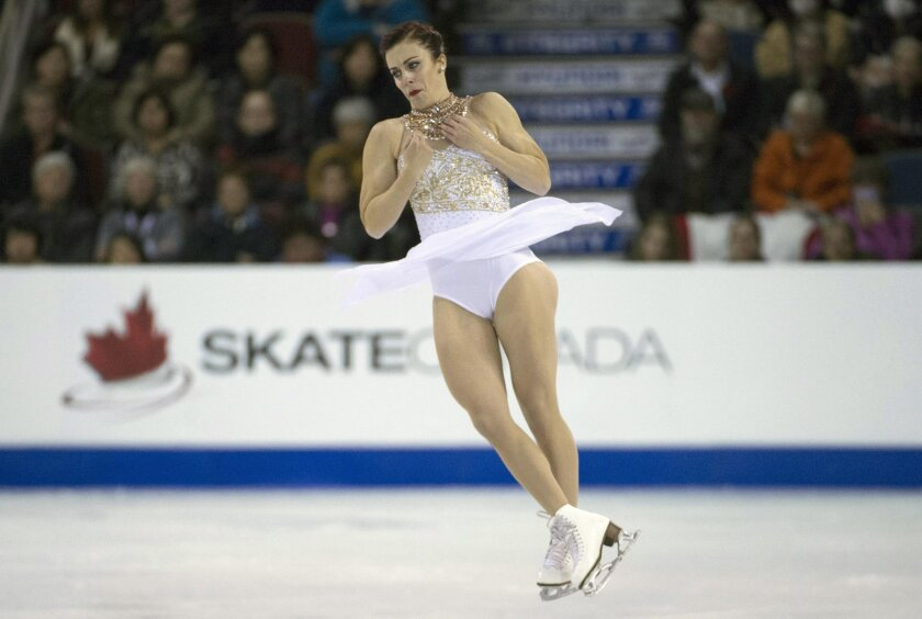 Ashley Wagner of the United States performs during the ladies free skate at Skate Canada International in Lethbridge, Alberta, Saturday, Oct. 31, 2015. (Jonathan Hayward/The Canadian Press via AP) MANDATORY CREDIT