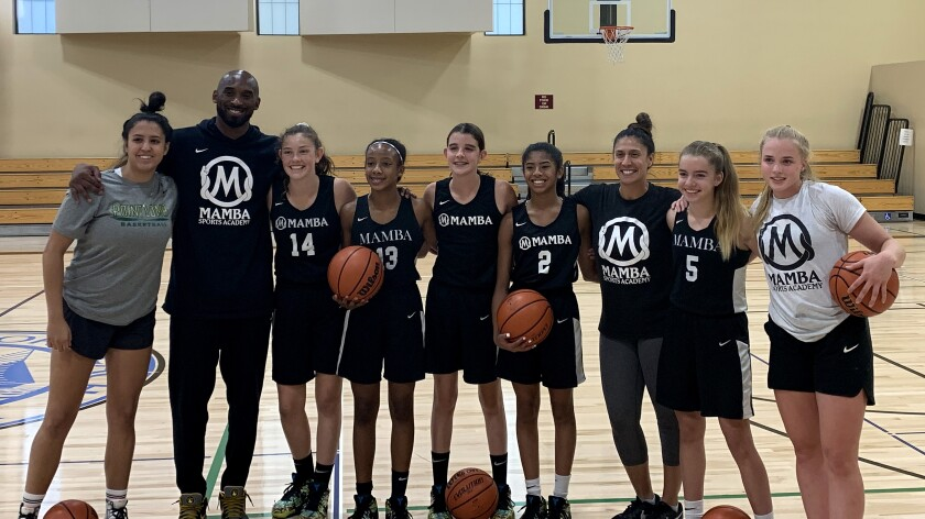 Hailey Van Lith, far right, worked out with Kobe Bryant's Mamba team in August 2019.