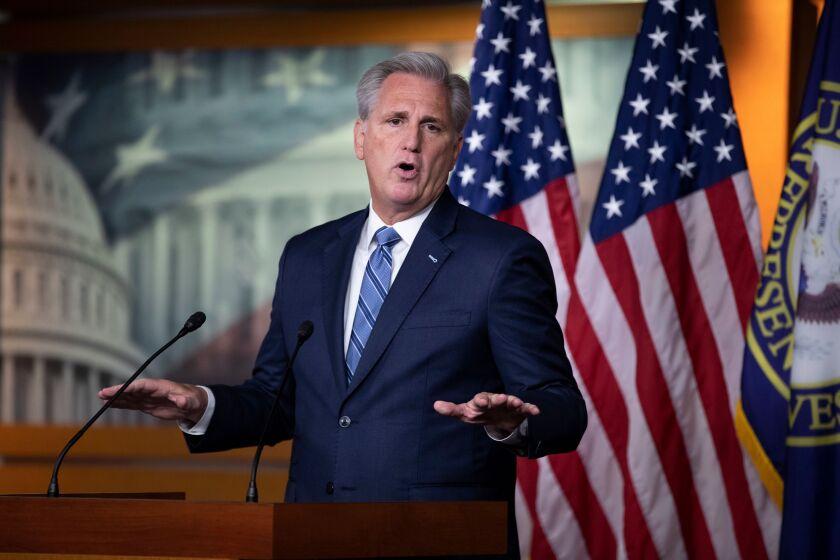 House Minority Leader Rep. Kevin McCarthy (R-Bakersfield) speaks in front of American flags