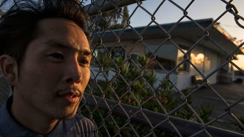 """Justin Chon at one of the sites along Van Ness Avenue where he filmed the movie """"Gook,"""" about the Ko"""