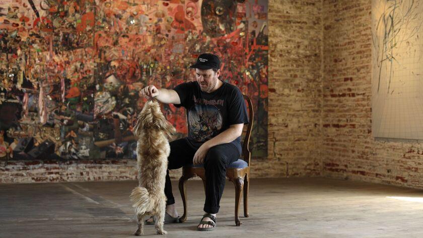 LOS ANGELES, CA -- JULY 24, 2018: Artist Elliott Hundley photographed at his studio in Los Angeles s