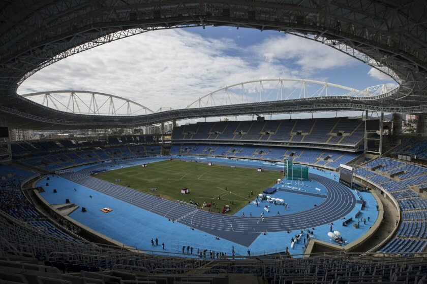 FILE - This is a Saturday, May 14, 2016  file photo of  the Rio Olympic Stadium during the Men's 3000m steeplechase final Athletics test event in Rio de Janeiro, Brazil, Saturday. With the opening ceremony just over two months away, Olympic leaders have plenty of challenges to discuss this week whe