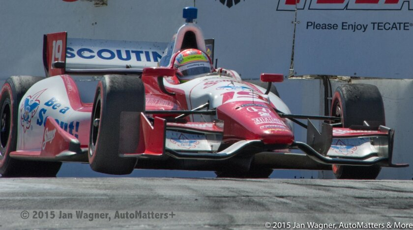 Justin Wilson lifts inside front tire at the 2013 Toyota Grand Prix of Long Beach