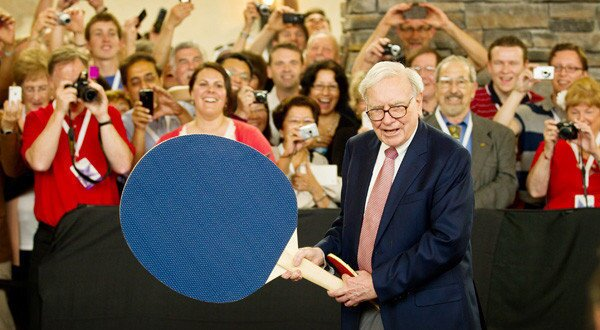 Warren Buffett plays it smart as he takes on table-tennis Olympian Ariel Hsing during Berkshire Hathaway's annual shareholders meeting, held in early May in Omaha. More: At annual meeting, Buffett, 81, says he has a successor standing by