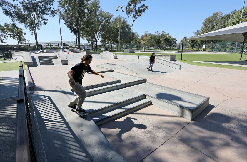 Costa Mesa has reopened its playgrounds including the city's Volcom skate park, shown above.