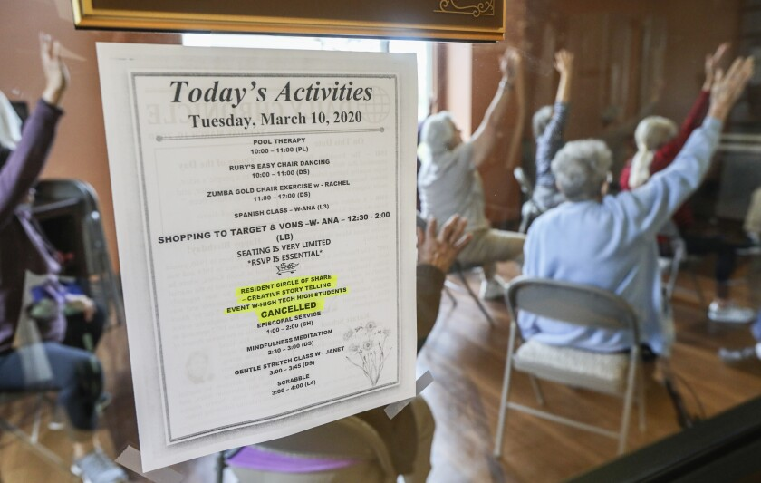 Residents of St. Paul's Plaza in Chula Vista are staying active despite cancellation of all activities that involve members of the public coming to the facility.