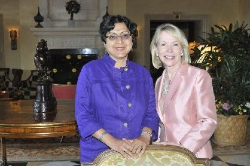 Author Thrity Umrigar with Chapter leader Gayle Allen of Northern Trust. Photo/McKenzie Images