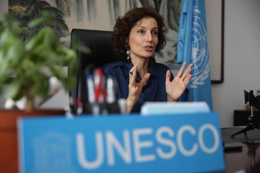 CHINA UNESCO:WU07. PEKÍN (CHINA), 18/07/2018.- La directora general de la UNESCO, Audrey Azoulay, concede una entrevista en el ámbito de su visita a Pekín (China) hoy, 18 de julio de 2018. EFE/ Wu Hong