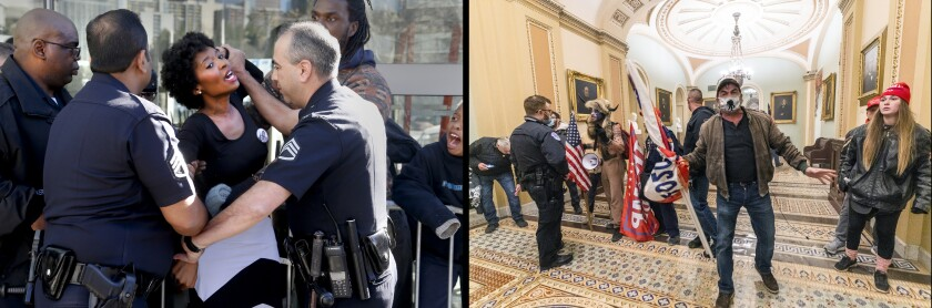 A 2015 Black Lives Matter protest versus a pro-Trump invasion at the capital.