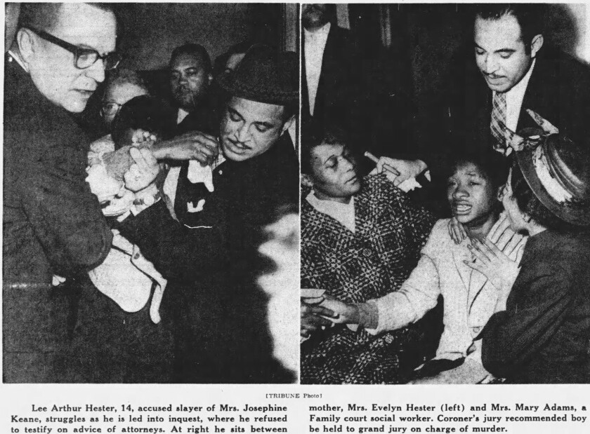 The Chicago Tribune ran these photographs shortly after Lee Arthur Hester, 14, was arrested.