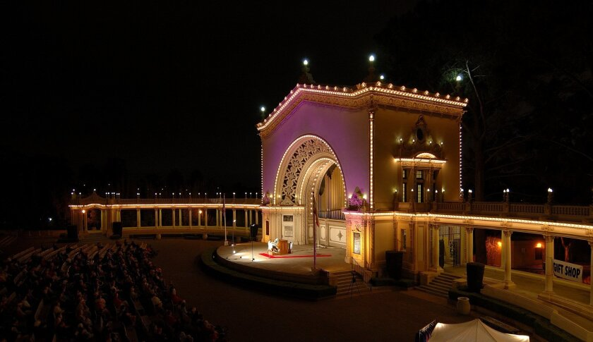 A summer night at Balboa Park's Spreckels Organ Pavilion. the organ is the second largest outdoor instrument in the world, and the largest in the U.S.