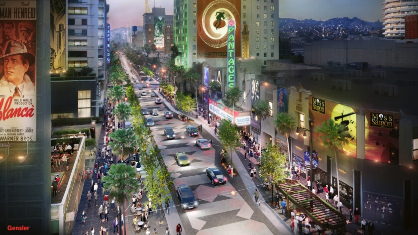 An artist's rendering of Hollywood Boulevard shows wider sidewalks and reduced space for private cars.