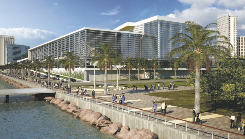 Rendering depicts bayside view of a previous proposal to expand the San Diego Convention Center.