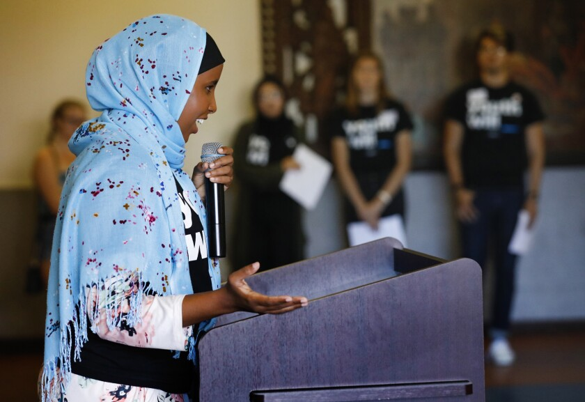 Warsan Artan, an organizer with Youth Will, speaks at a 2019 event to empower young people.