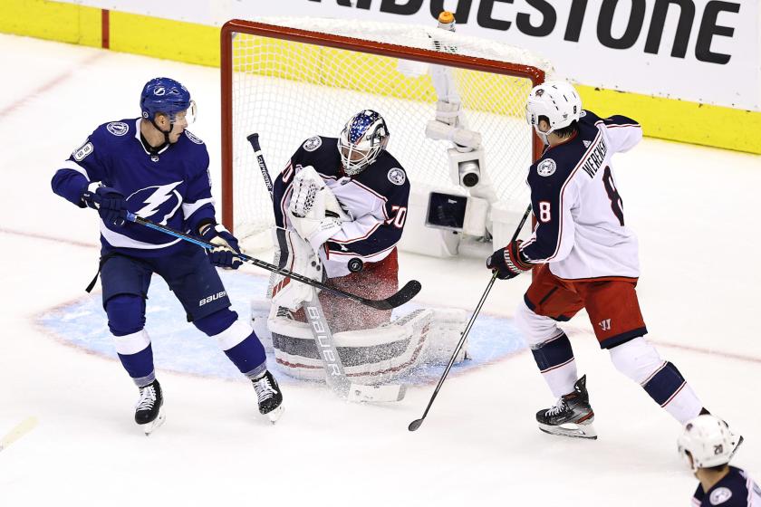 Columbus Blue Jackets goaltender Joonas Korpisalo stops a shot against the Tampa Bay Lightning.
