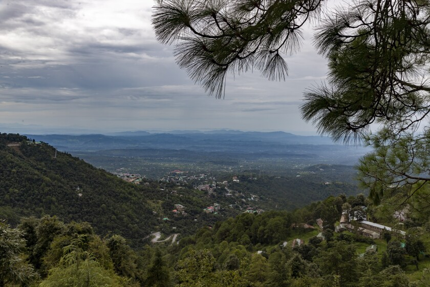 Buildings in the Kangra Valley are clearly visible after a rainfall in Dharmsala, India, Thursday, Aug. 6, 2020. (AP Photo/Ashwini Bhatia)