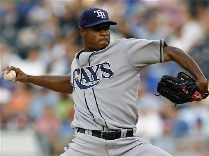 Tampa Bay Rays starting pitcher Edwin Jackson throws during the first inning of a baseball game against the Kansas City Royals, Friday, July 25, 2008, in Kansas City, Mo. (AP Photo/Ed Zurga)