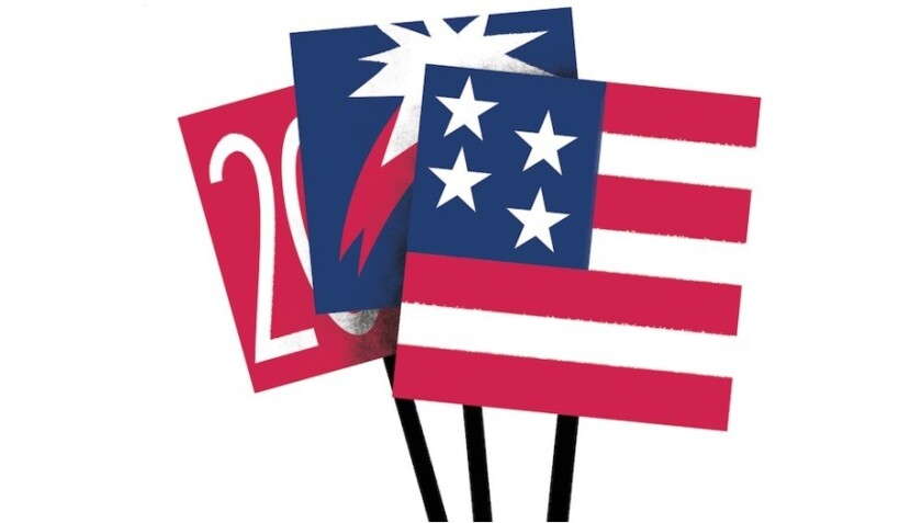 Illustration of stylized U.S.-themed flags