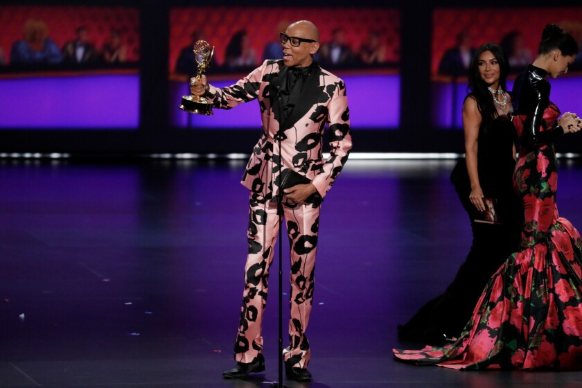 RuPaul Charles accepts the award for competition program at the 71st Primetime Emmy Awards at the Microsoft Theater in Los Angeles.