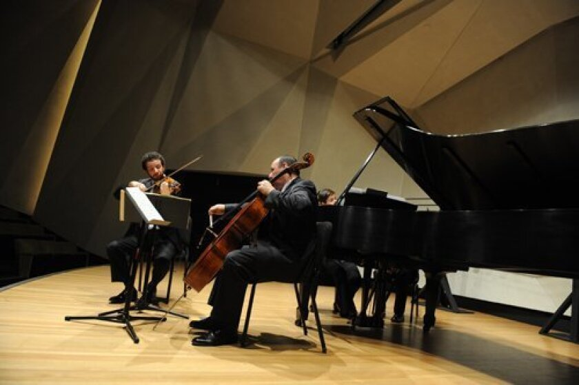 Mainly Mozart chamber musicians Steven Copes, Peter Wiley and Anna Polonsky performed last year in the auditorium formerly offered for free to the community by the Neurosciences Institute. Photo/Ken Jacques