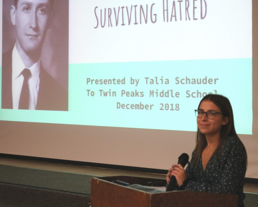 Poway High School junior Talia Schauder has spoken to more than 4,000 people about her grandfather, who survived the Holocaust, and about the need for diversity and tolerance. (Courtesy of Talia Schauder)