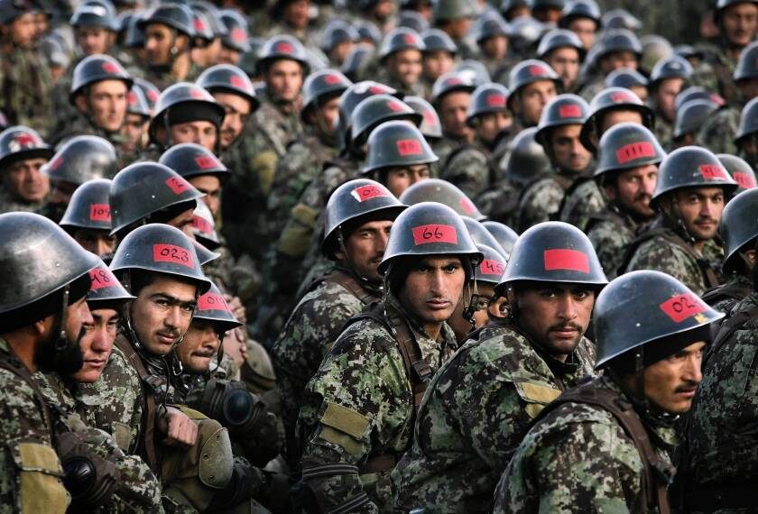 Afghan army recruits in November. The Afghan army is now doing most of the fighting -- and dying -- in the war.