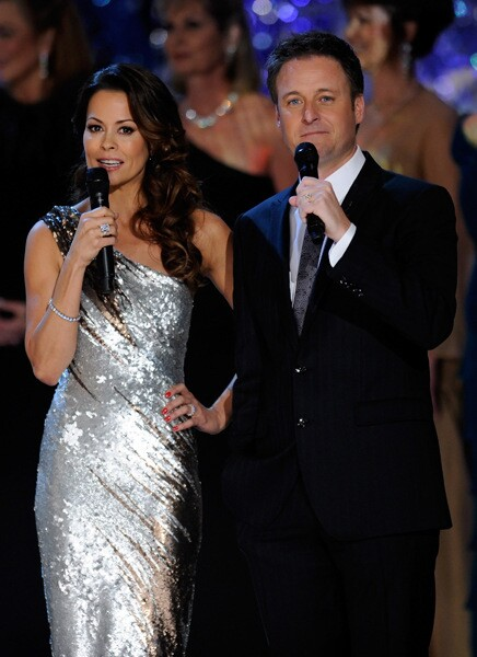 Television personalities Brooke Burke (L) and Chris Harrison host the 2011 Miss America Pageant at the Planet Hollywood Resort & Casino January 15, 2011 in Las Vegas, Nevada.