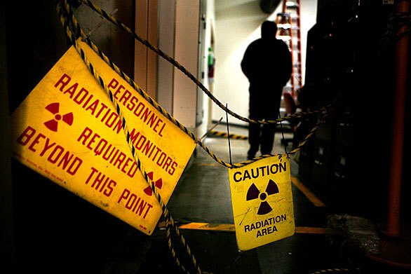 Warning signs mark the area where the plutonium is.