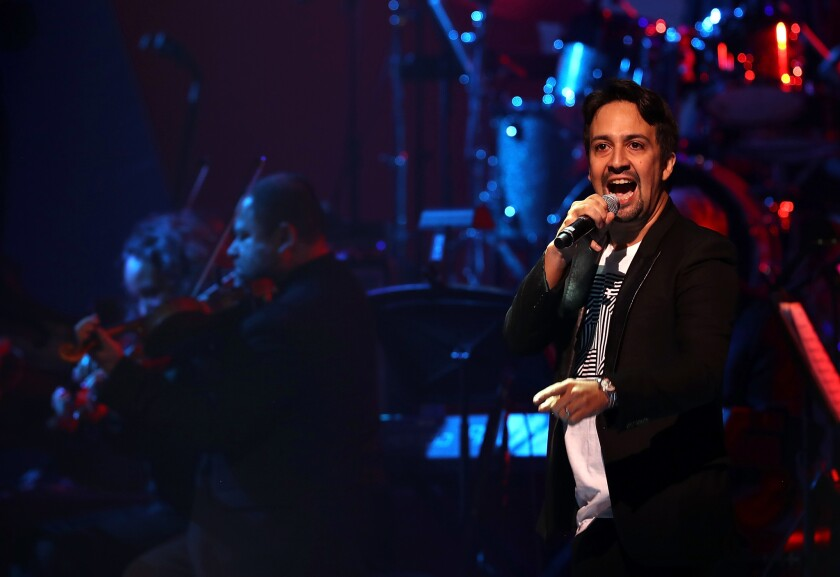 Lin-Manuel Miranda performs during the Stronger Together concert at St. James Theatre in New York City on Oct. 17.