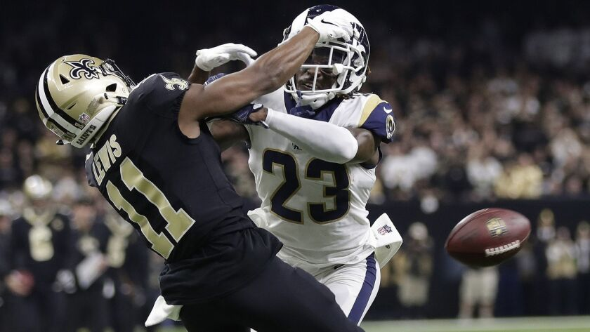 FILE - In this Jan. 20, 2019, file photo, Los Angeles Rams' Nickell Robey-Coleman breaks up a pass i