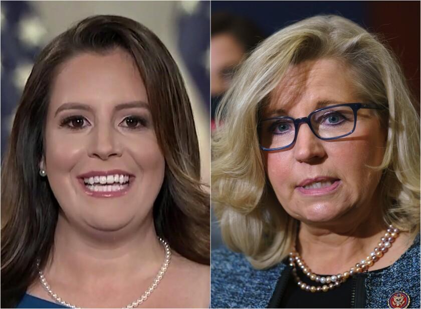Republican congresswomen Elise Stefanik, left, and Liz Cheney in side-by-side photos.