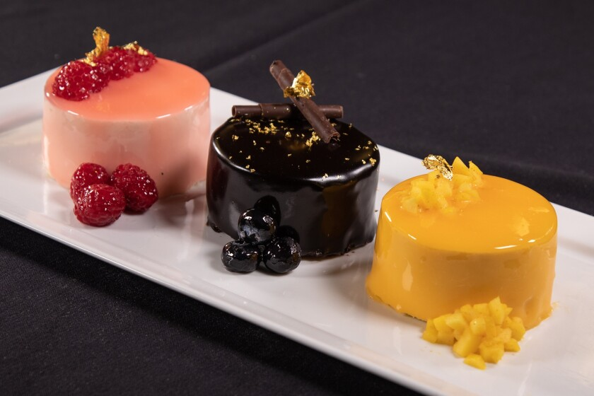 The Insta-ready coffee lychee, chocolate and mango flourless cakes at Morongo's Pink Coffee.