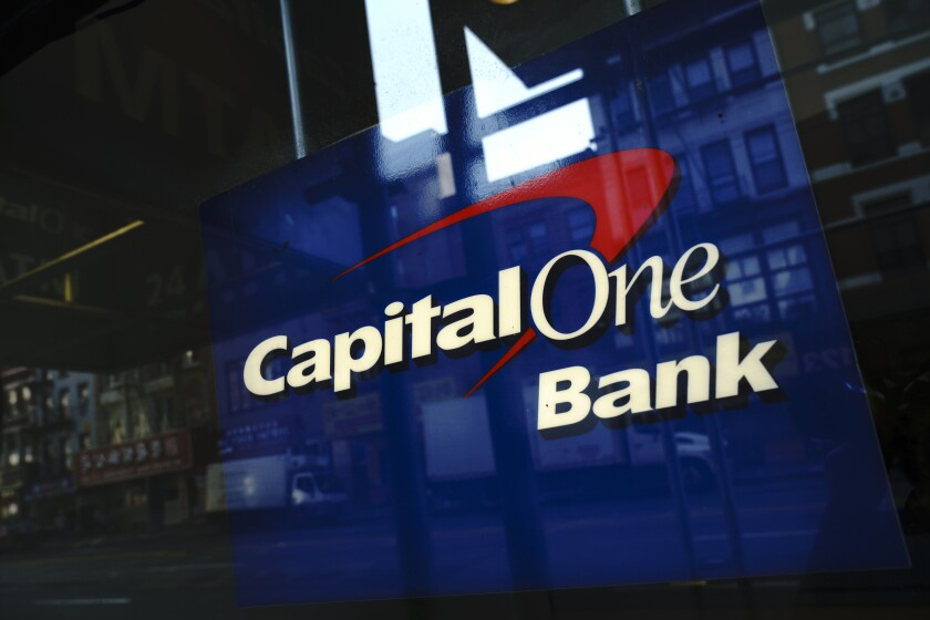 Capital One sign on a building in Manhattan in 2019.