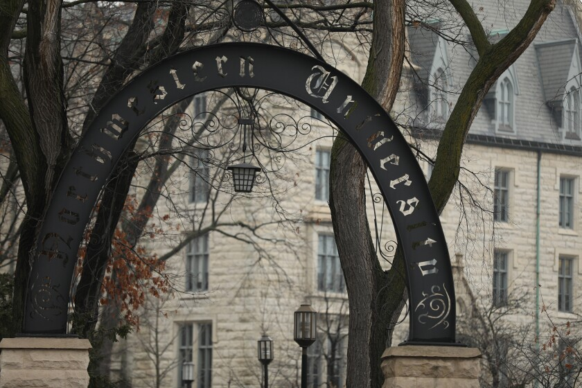 An entrance gate to Northwestern University in Evanston, Ill.
