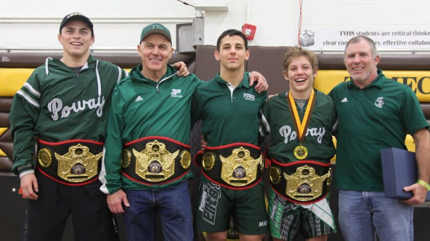 Nate Tausch, coach Wayne Branstetter, Dominic Mata, Jacob Allen and coach John Meyers at the Battle