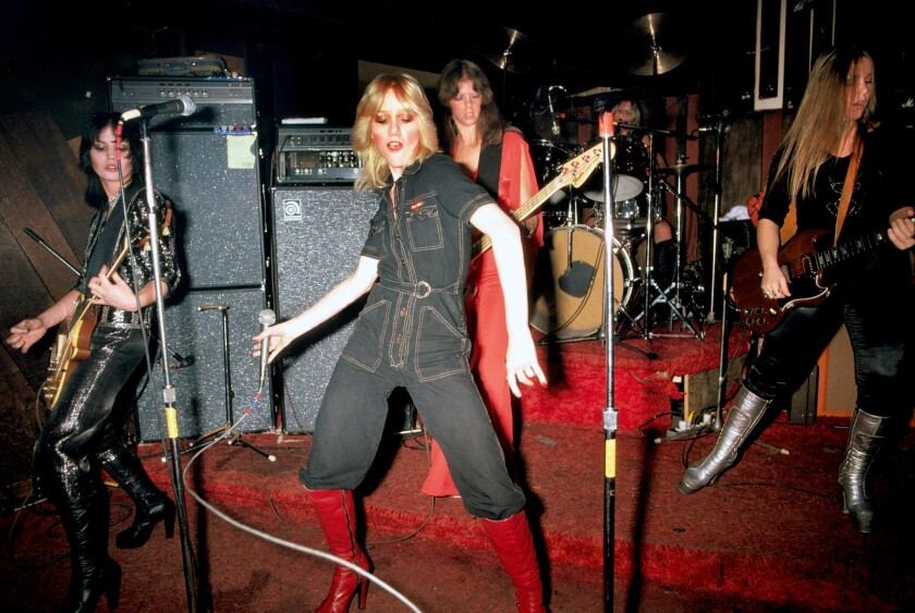 The Runaways perform live at CBGB's club in New York on Aug. 2, 1976. From left are Joan Jett, Cherie Currie, Jackie Fox, Sandy West and Lita Ford.