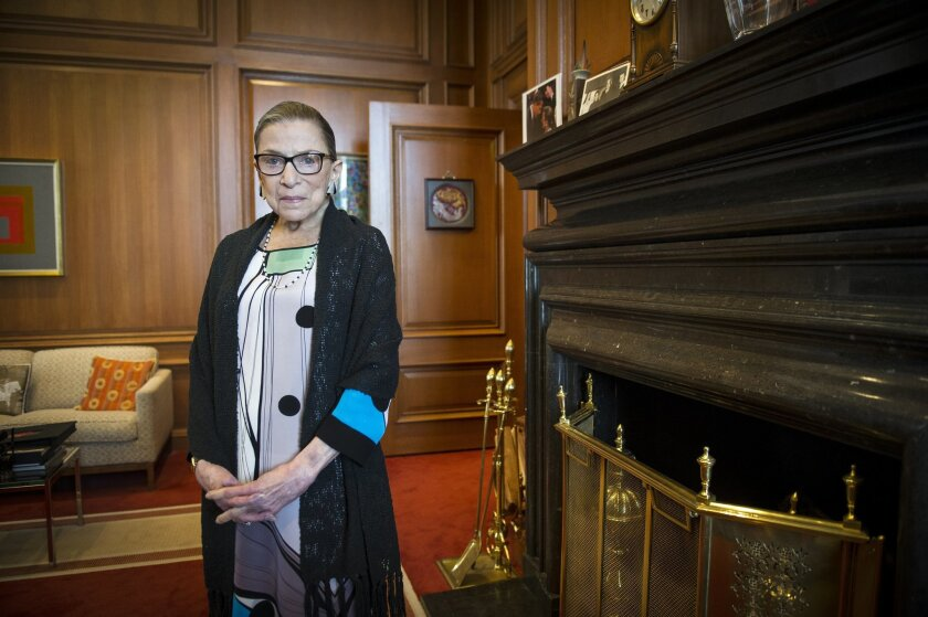 Associate Justice Ruth Bader Ginsburg in her Supreme Court chambers in Washington, Thursday, July 31, 2014.  Ginsburg says the Supreme Court won't duck the issue of same-sex marriage the next time a case comes to the court.  The 81-year-old Ginsburg said in an interview with The Associated Press on