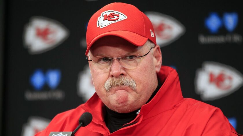 FILE - In this Jan. 12, 2019, file photo, Kansas City Chiefs coach Andy Reid is shown during a news