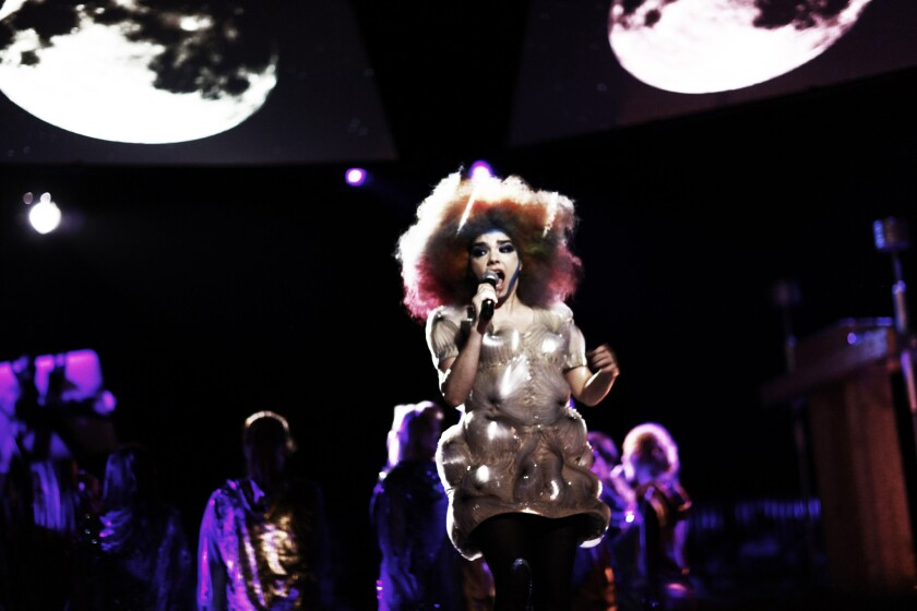 "A scene from ""Björk: Biophilia Live."""