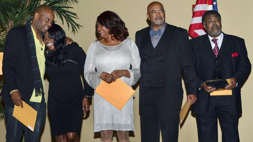 Actors Laurence Brown, Milena Phillips, Yolanda Franklin, Antonio TJ Johnson and Grandison Phelps III (from left) celebrate their Craig Noel Award for outstanding ensemble.