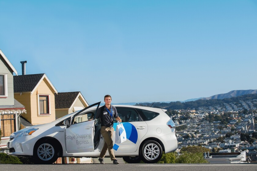 A Google Shopping Express delivery vehicle in the Bay Area. Google is expanding the same-day delivery service as a test for its employees in the Southland.