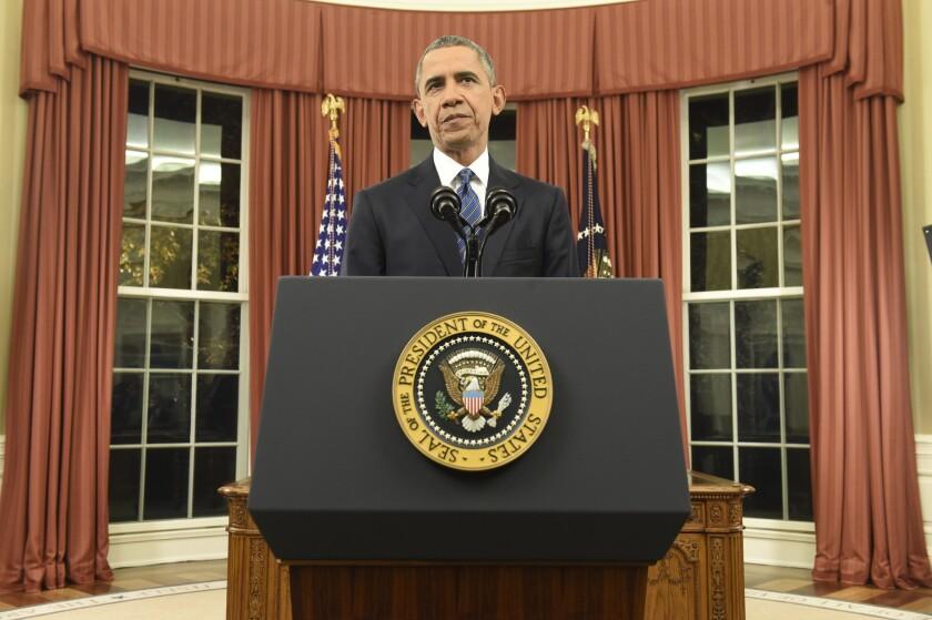 President Barack Obama addresses the U.S. from the Oval Office on Sunday.