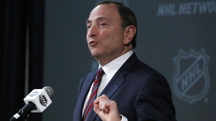 NHL Commissioner Gary Bettman speaking at a news conference in Columbus, Ohio on Jan 24, 2015.